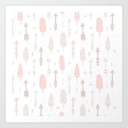Bohemian blush pink brown feathers arrows pattern Art Print
