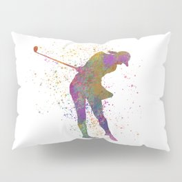 Female golf player competing in watercolor 01 Pillow Sham