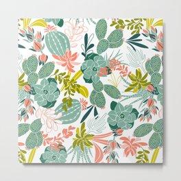 Succulent Garden White Metal Print