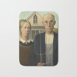American Gothic, Classic Art Painting, Grant Wood Bath Mat