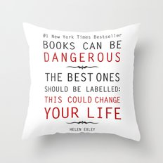 Books Can Be Dangerous - Helen Exley Book Quote Typography  Throw Pillow