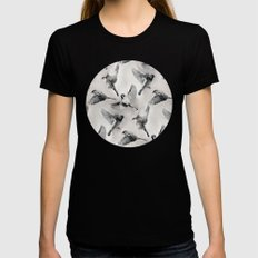 Sparrow Flight - monochrome MEDIUM Black Womens Fitted Tee