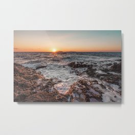 Sunset from rocky beach Metal Print