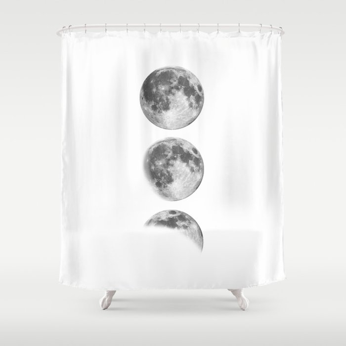 Full Moon Cycle Black White Photography Print New Lunar Eclipse Poster Bedroom Home Wall Decor Shower Curtain By Themotivatedtype