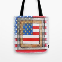 american flag Tote Bags featuring American Flag by Steve Hester