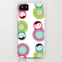 dolls matryoshka on white background, pink and blue colors iPhone Case
