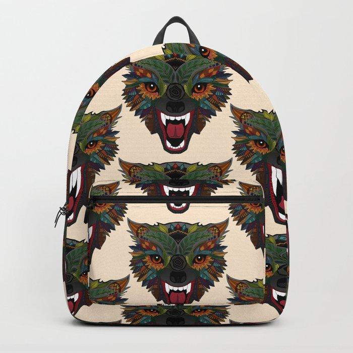 wolf fight flight ecru Backpack