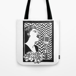 Lady Day (Billie Holiday block print blk) Tote Bag
