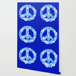 Peace Sign Floral Blue Wallpaper