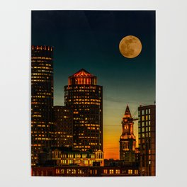 Boston Pink  Moon Poster