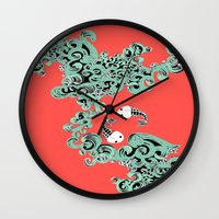 pisces Wall Clocks featuring Pisces by LindsayMichelle
