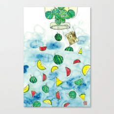 Why Watermelon Drop from Bottle? Canvas Print