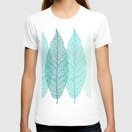Abstract Skeleton Leaves, Teal, Aqua, Turquoise T-shirt