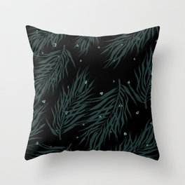 Midnight palm party Throw Pillow