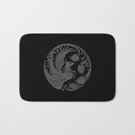 Traditional Gray and Black Chinese Phoenix Circle Bath Mat