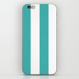 Wide Vertical Stripes - White and Verdigris iPhone Skin