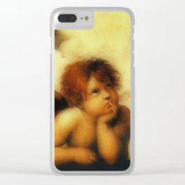 "Raffaello Sanzio da Urbino ""Sistine Madonna"", 1513-1514 - angels (1) Clear iPhone Case"
