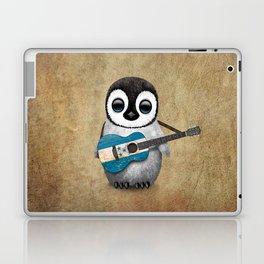 Baby Penguin Playing Honduras Flag Acoustic Guitar Laptop & iPad Skin