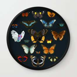 Entomology Vintage Butterfly Wall Clock