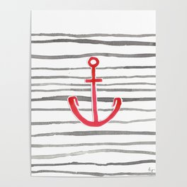 Anchor Symbol - Stripes RED Poster