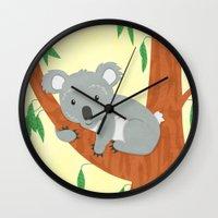 koala Wall Clocks featuring Koala by Claire Lordon
