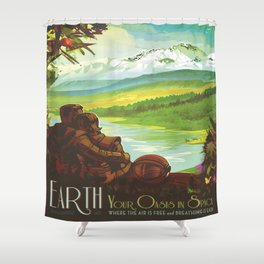 Earth Retro Space Poster Shower Curtain