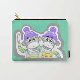 Grey, Mint, Purple, and Yellow Sock Monkeys Art Carry-All Pouch