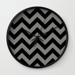 Black and Grey Chevron Stripes Wall Clock