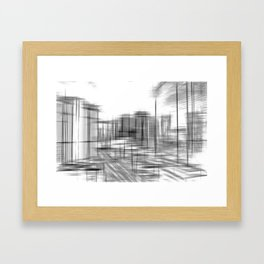 pencil drawing buildings in the city in black and white Framed Art Print