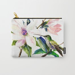 Hummingbird and Magnolia Flowers, Green Soft Pink floral design vintage style Carry-All Pouch