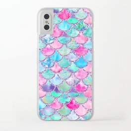 Colorful Pink and Blue Watercolor Trendy Glitter Mermaid Scales Clear iPhone Case