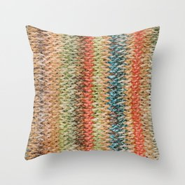 Texture background of woven straw Throw Pillow