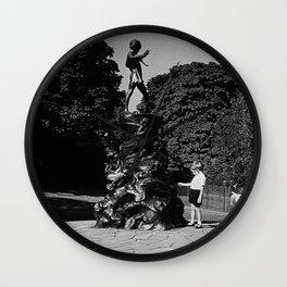 Retro UK England London Peter Pan statue Kensington 1970 Wall Clock