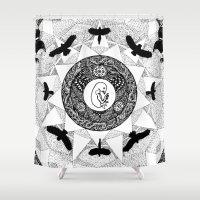 pentagram Shower Curtains featuring Birds by Eurimos