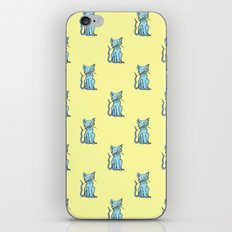 Crazy Cat (Blue/Yellow) iPhone & iPod Skin
