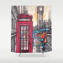 Rainy day in London ink & watercolor illustration Shower Curtain