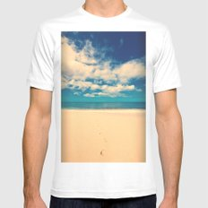 Footprints in the Sand Mens Fitted Tee White MEDIUM