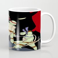 tmnt Mugs featuring TMNT by SquidInkDesigns