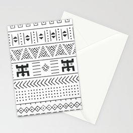 Black and white tribal ethnic pattern with geometric elements, traditional African mud cloth, tribal Stationery Cards