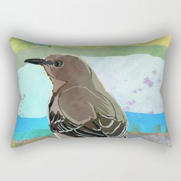 Mockingbird on a Wire Fence - In The Morning Rectangular Pillow