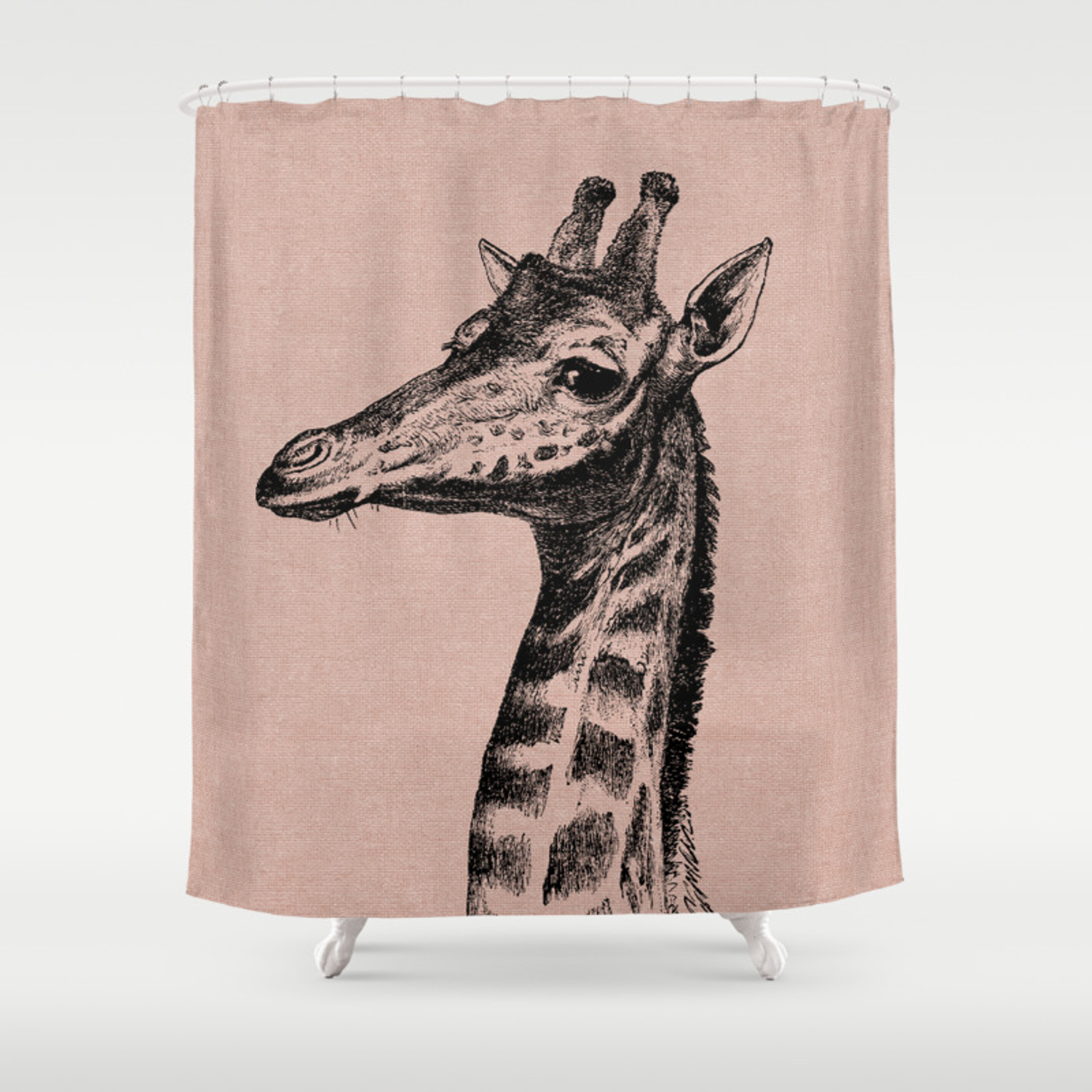 Vintage Giraffe On Natural Blush Linen Shower Curtain