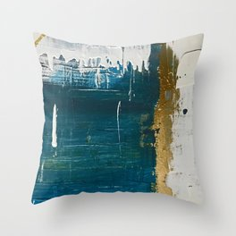 Rain [3]: a minimal, abstract mixed-media piece in blues, white, and gold by Alyssa Hamilton Art Throw Pillow
