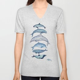 """Rare Cetaceans"" by Amber Marine - Watercolor dolphins and porpoises - (Copyright 2017) Unisex V-Neck"