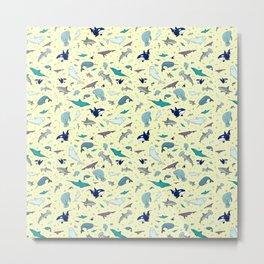 Ocean Life Pattern Metal Print