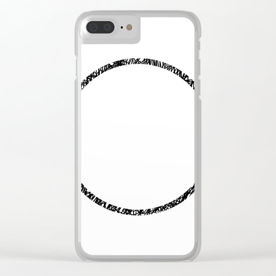Scribble Ring - Black ink, black and white, minimalistic, ring artwork Clear iPhone Case