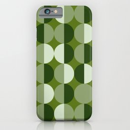 Retro circles grid green iPhone Case