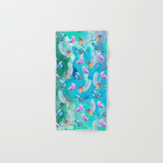 Birds in the sky- Bird animal pattern on aqua backround Hand & Bath Towel