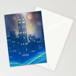 Neon city skyline by night metallic look print Stationery Cards
