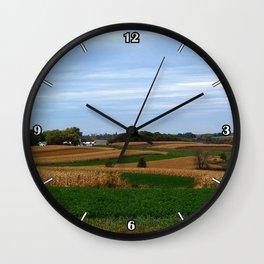 Autumn farm in Wisconsin's driftless region Wall Clock