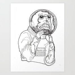 Stay Safe Space Monkey! Art Print